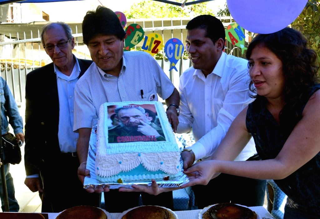 COCHABAMBA, Aug. 14, 2016 - Bolivian President Evo Morales (2nd L) takes part in a celebration of the 90th birthday of Cuba's revolutionary leader Fidel Castro in Cochabamba City, Bolivia, on Aug. ...