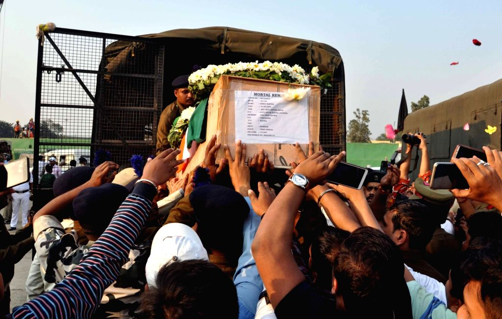 Coffin of martyr Bablu Santra, being loaded to be taken to his native place, in Kolkata on Feb 16, 2019.
