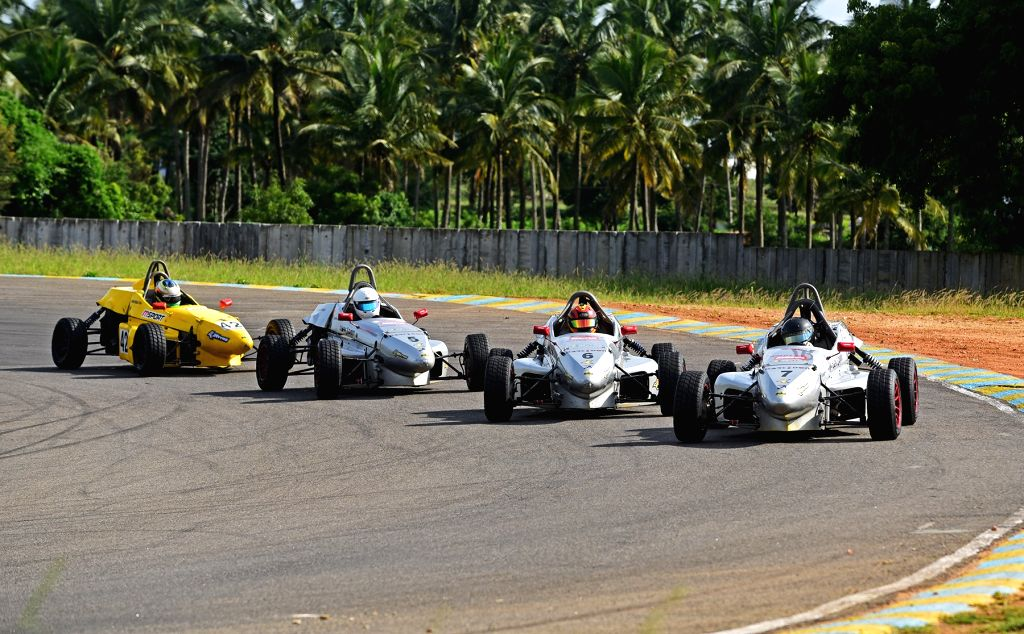 Coimbatore: Dark Don Racing's Diljith TS in action during Round 3 on Day 1 of the JK Tyre FMSCI National Racing Championship 2019 at the Kari Motor Speedway in Coimbatore, on Sep 28, 2019. (Photo: IANS)