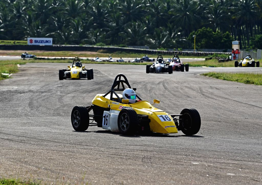 Coimbatore: Mohammed Ryan of MSport in action during Day 3 on Day 1 of the JK Tyre FMSCI National Racing Championship 2019 at the Kari Motor Speedway in Coimbatore, on Sep 28, 2019. (Photo: IANS)