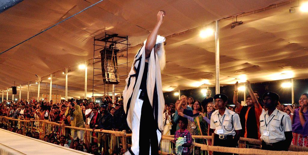 Philanthropist Jaggi Vasudev during a programme organised to celebrate Mahashivarathri at Isha Yoga Center in Coimbatore, Tamil Nadu on Feb 18, 2015.