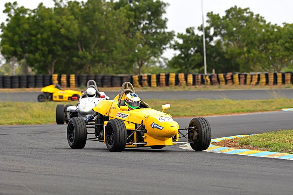 Coimbatore: Seasoned racer Vishnu Prasad (LGB Formula 4 category) in action during Day 1 of the 22nd JK Tyre FMSCI National Racing Championship, Round 1 in Coimbatore, Tamil Nadu on July 27, 2019. (Photo: IANS)