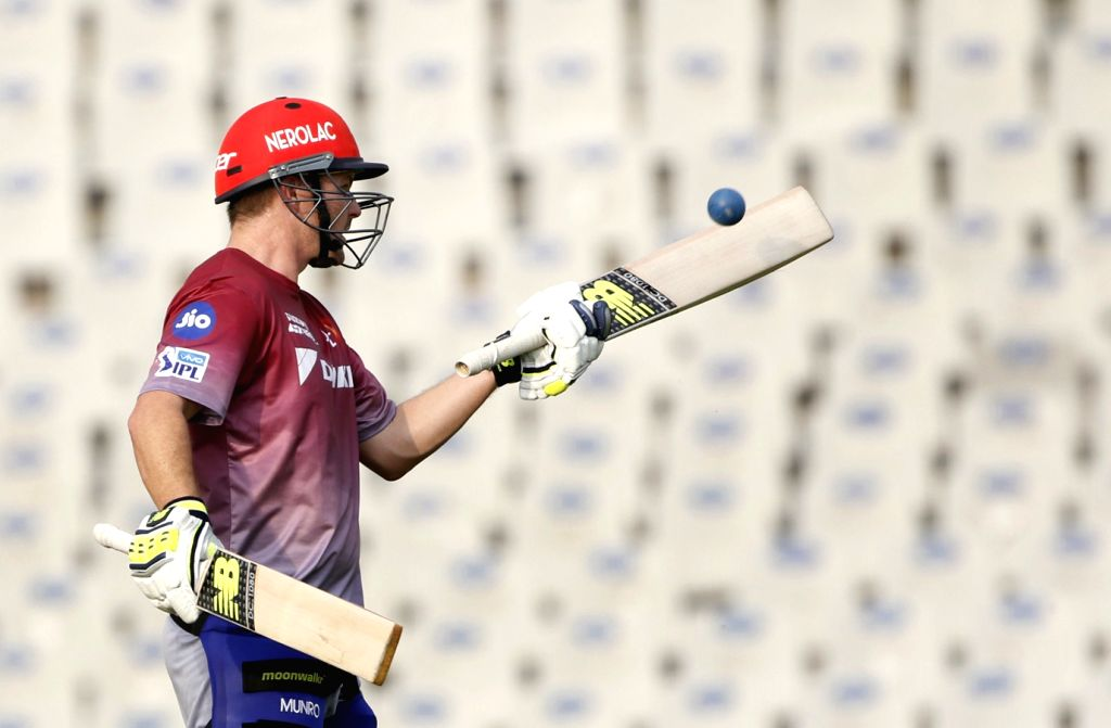 Colin Munro of Delhi Daredevils during a practice session in Mohali on April 7, 2018.