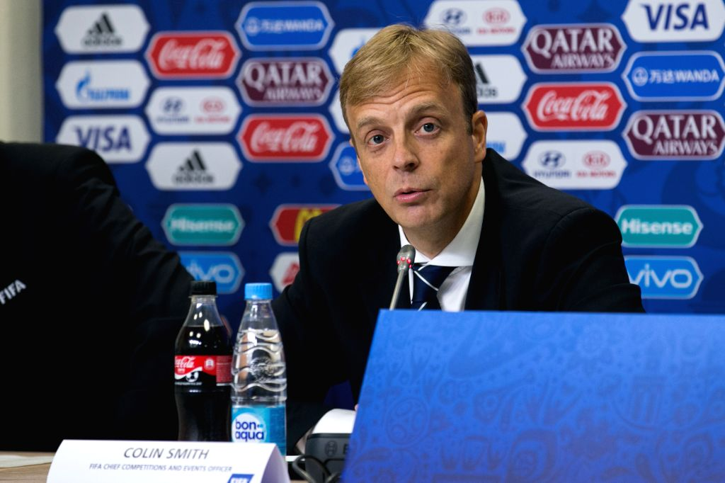 Colin Smith, FIFA Chief Competitions and Events Officer, speaks during a press conference before the FIFA Confederations Cup 2017 in Saint Petersburg, ...