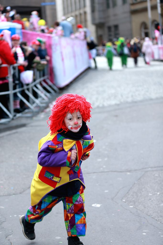 COLOGNE, Feb. 27, 2017 - A boy walks during the street carnival in Cologne, Germany, Feb. 26, 2017. The week-long street festival kicked off on Thursday.