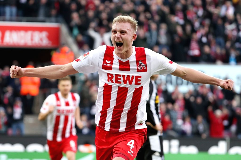 COLOGNE, Jan. 15, 2018 - Frederik Soerensen of 1.FC Koeln celebrates after scoring during the Bundesliga match between 1. FC Koeln and Borussia Moenchengladbach in Cologne, Germany, on Jan. 14, 2018.