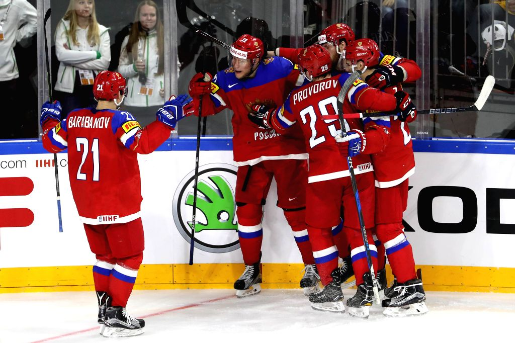 COLOGNE, May 6, 2017 - Players of Russia celebrate scoring during the 2017 IIHF Ice Hockey World Championship Preliminary Round Group A Game between Sweden and Russia at Lanxess Arena in Cologne, ...
