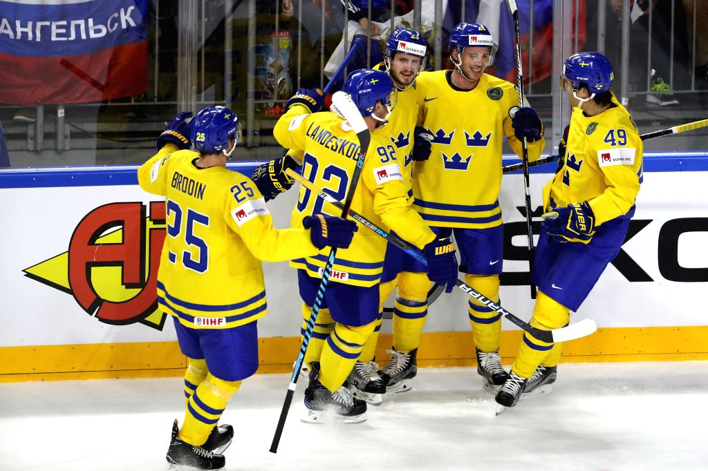 COLOGNE, May 6, 2017 - Players of Sweden celebrate scoring during the 2017 IIHF Ice Hockey World Championship Preliminary Round Group A Game between Sweden and Russia at Lanxess Arena in Cologne, ...