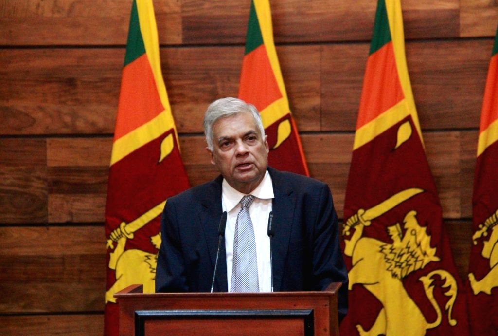 COLOMBO, April 23, 2019 (Xinhua) -- Sri Lankan Prime Minister Ranil Wickremesinghe speaks at a press conference in Colombo, Sri Lanka, April 23, 2019. Sri Lankan Prime Minister Ranil Wickremesinghe said on Tuesday that authorities are making progress - Ranil Wickremesingh