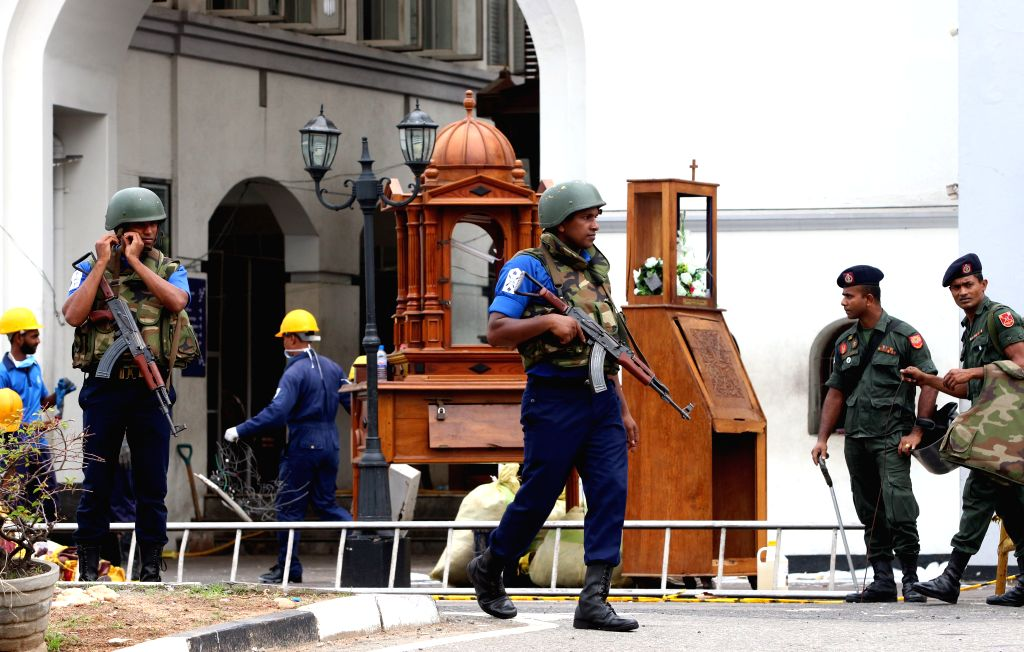 COLOMBO, April 27, 2019 - Security forces are seen outside St. Anthony's Church, one of the targets in a series of bomb blasts targeting churches and luxury hotels on Sunday, in Colombo, Sri Lanka, ...