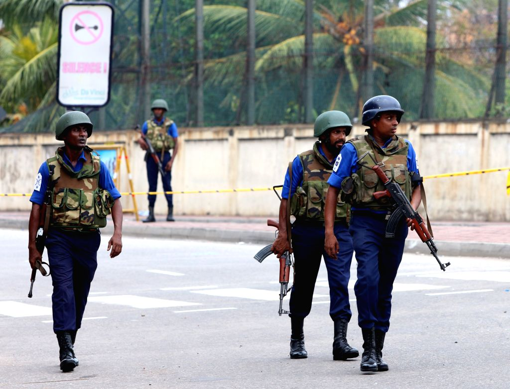 COLOMBO, April 27, 2019 - Security forces patrol outside St. Anthony's Church, one of the targets in a series of bomb blasts targeting churches and luxury hotels on Sunday, in Colombo, Sri Lanka, on ...