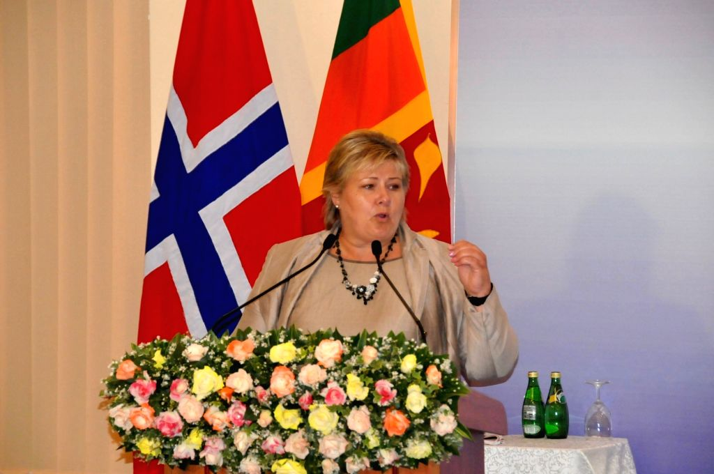 COLOMBO, Aug. 13, 2016 - Norwegian Prime Minister Erna Solberg delivers a speech in Colombo, Sri Lanka, Aug. 12, 2016. Norway would like to share development and common good with Sri Lanka through ... - Erna Solberg