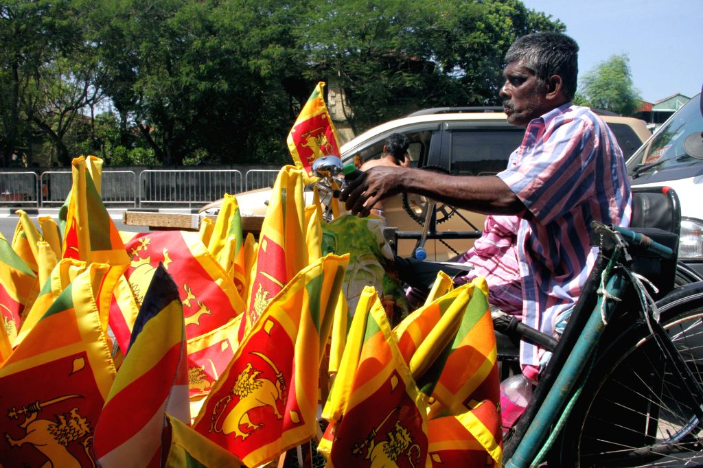 COLOMBO, Feb. 1, 2019 - A vendor sells national flags in Colombo, Sri Lanka, on Jan. 31, 2019. Sri Lanka will celebrate its 71st Independence Day on Feb. 4.