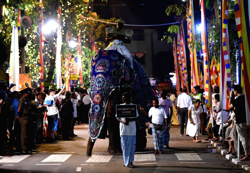 COLOMBO, Feb. 19, 2019 - An elephant takes part in the annual Buddhist Navam procession in front of the Gangarama Temple in Colombo, Sri Lanka, on Feb. 18, 2019. Thousands of people with dozens of ...