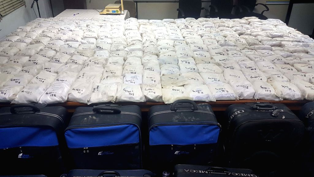 COLOMBO, Feb. 24, 2019 - Photo taken on Feb. 24, 2019 shows the seized heroin in Colombo, Sri Lanka. Sri Lankan police on Sunday seized the largest haul of heroin discovered in the island country ...