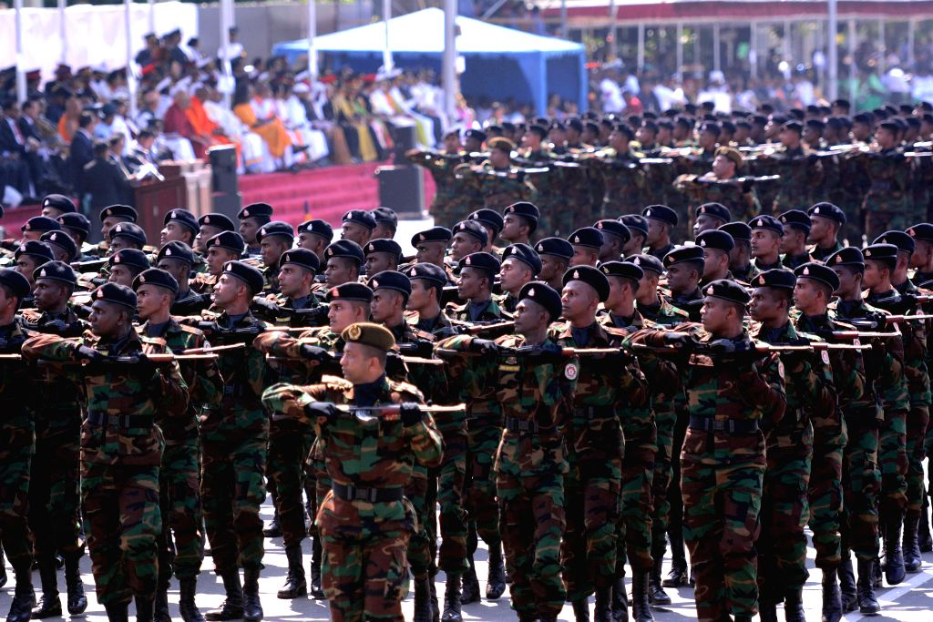 COLOMBO, Feb. 4, 2016 (Xinhua) -- Sri Lanka Army soldiers march during the 68th Independence Day celebration parade in Colombo, capital of Sri Lanka, Feb. 4, 2016. Sri Lanka on Thursday celebrates the 68th anniversary of gaining independence from the