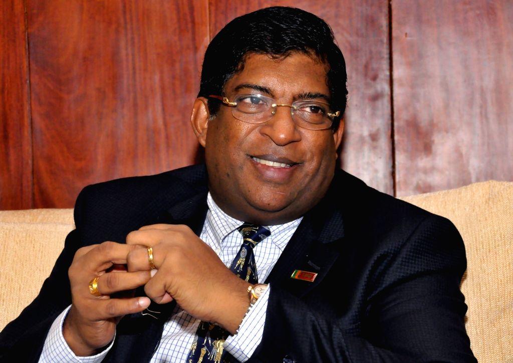 COLOMBO, July 28, 2017 (Xinhua) -- Sri Lankan Foreign Minister Ravi Karunanayake speaks to Xinhua in an interview in Colombo, Sri Lanka, on July 27, 2017. Sri Lankan Foreign Minister Ravi Karunanayake has spoken highly of the China-proposed Belt and  - Ravi Karunanayake