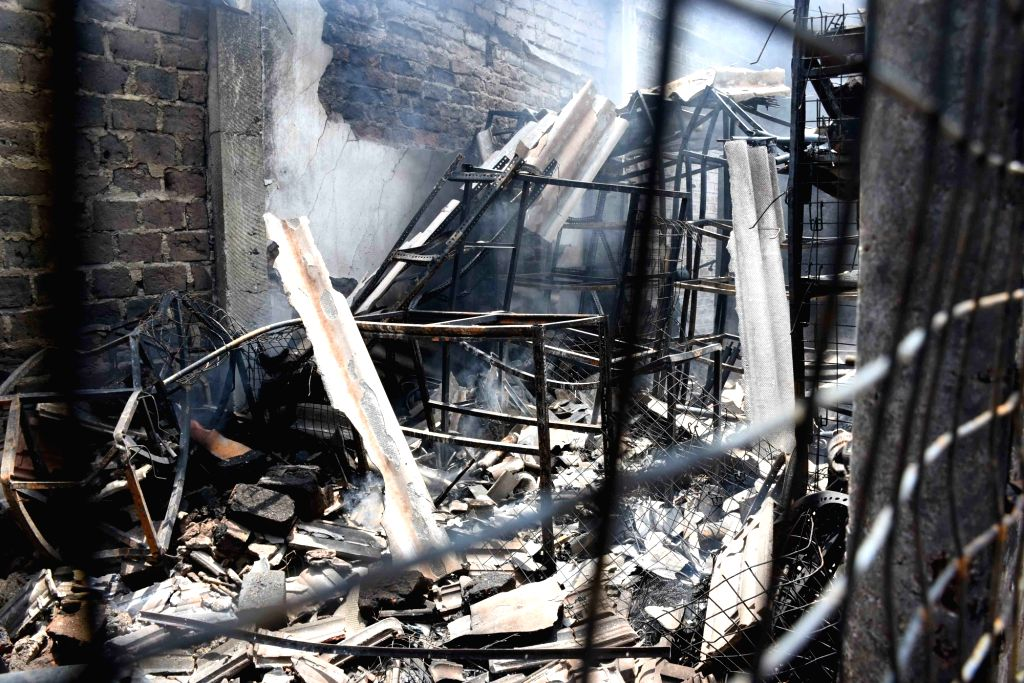COLOMBO, May 14, 2019 - Photo taken on May 14, 2019 shows a house damaged during the violent clashes in North Western Province, Sri Lanka. Over 60 people have been arrested over the violent clashes ...