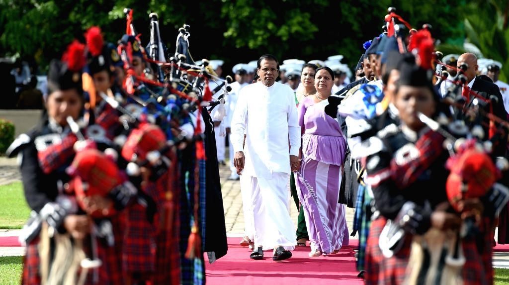 COLOMBO, May 20, 2018 - Sri Lankan President Maithripala Sirisena (Front C) arrives during a commemorative ceremony marking the 9th anniversary of the end of the island's civil war in Colombo, Sri ...