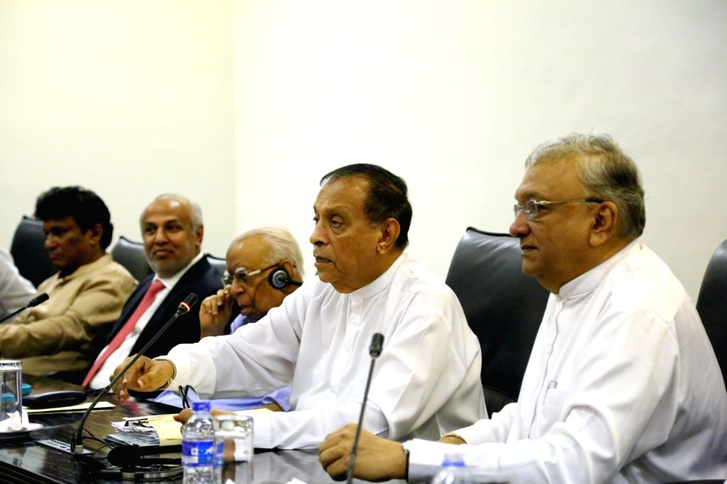 COLOMBO, Nov. 2, 2018 - Sri Lanka's Parliament Speaker Karu Jayasuriya (2nd R) attends a meeting with political party legislators at the parliament in Colombo, Sri Lanka, Nov. 2, 2018. Sri Lanka's ... - Karu Jayasuriya