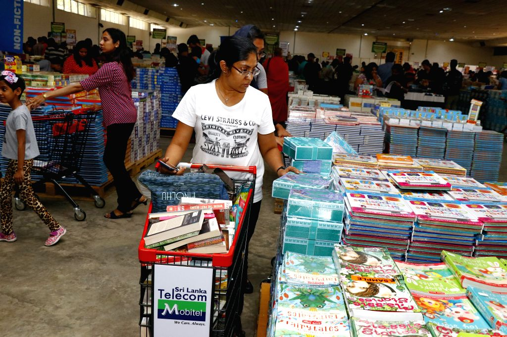 COLOMBO, Oct. 18, 2019 - People visit the Big Bad Wolf Sale, one of the world's largest book fairs, in Colombo, Sri Lanka, Oct. 17, 2019. The book fair kicked off in Sri Lanka's capital Colombo on ...