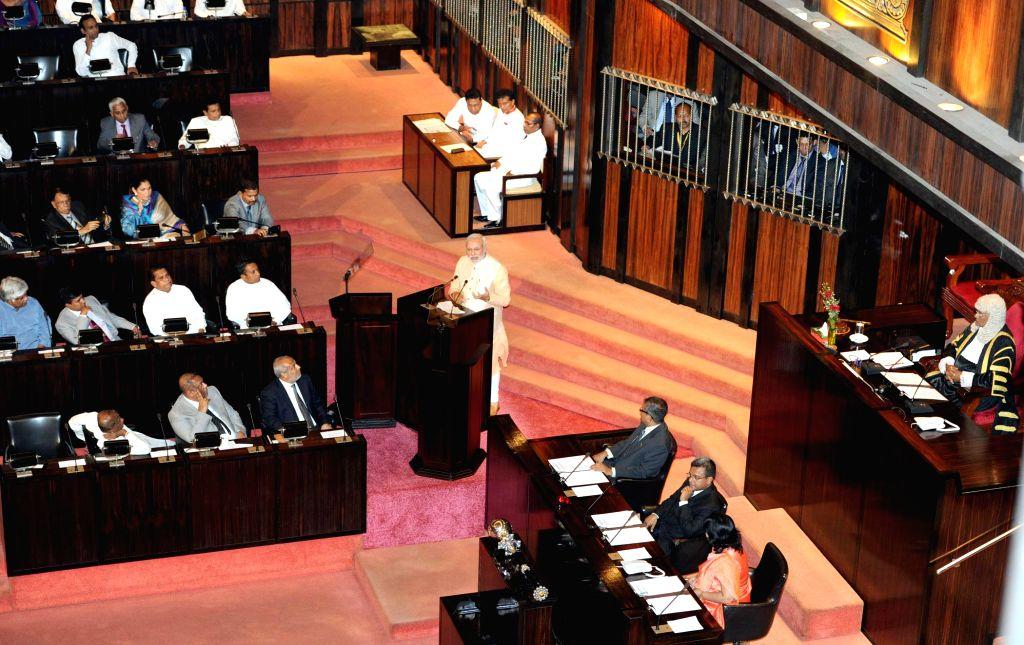 Prime Minister Narendra Modi addresses the Parliament of Sri Lanka, in Colombo, Sri Lanka on March 13, 2015. - Narendra Modi