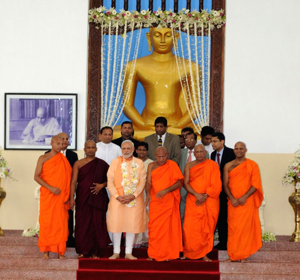 Prime Minister Narendra Modi at the Mahabodhi Society, in Colombo, Sri Lanka on March 13, 2015. - Narendra Modi