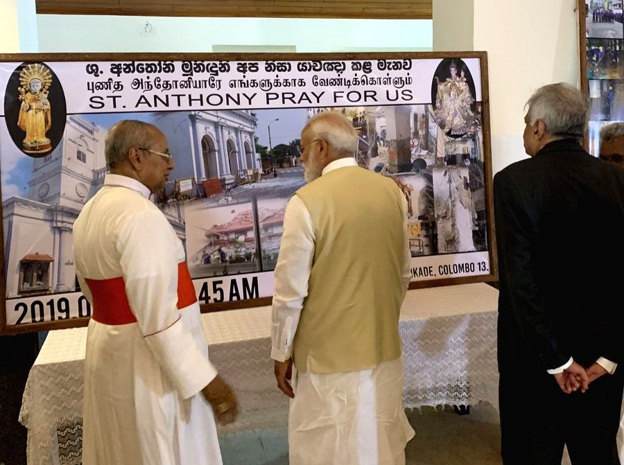 Colombo: Prime Minister Narendra Modi during his visit to Anthony's Church in Colombo, Sri Lanka on June 9, 2019. (Photo: Twitter/@narendramodi) - Narendra Modi