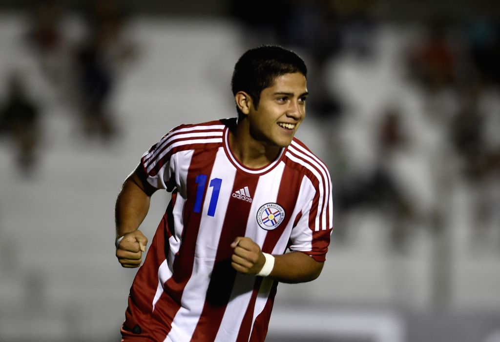 "The player Sergio Diaz of Paraguay, celebrates his scoring during the first phase match of the2015 South American U-20 Tournament ""Youth of America"" ..."