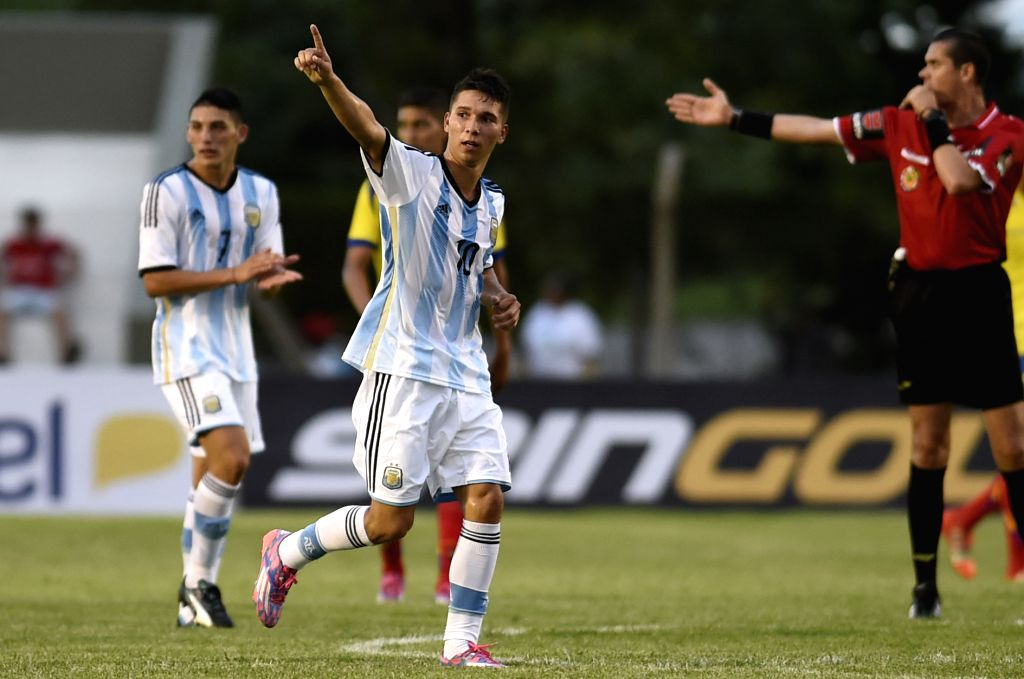 "The player Tomas Martinez (front) of Argentina, celebrates his scoring during the first phase match of the 2015 South American U-20 Tournament ""Youth of ..."