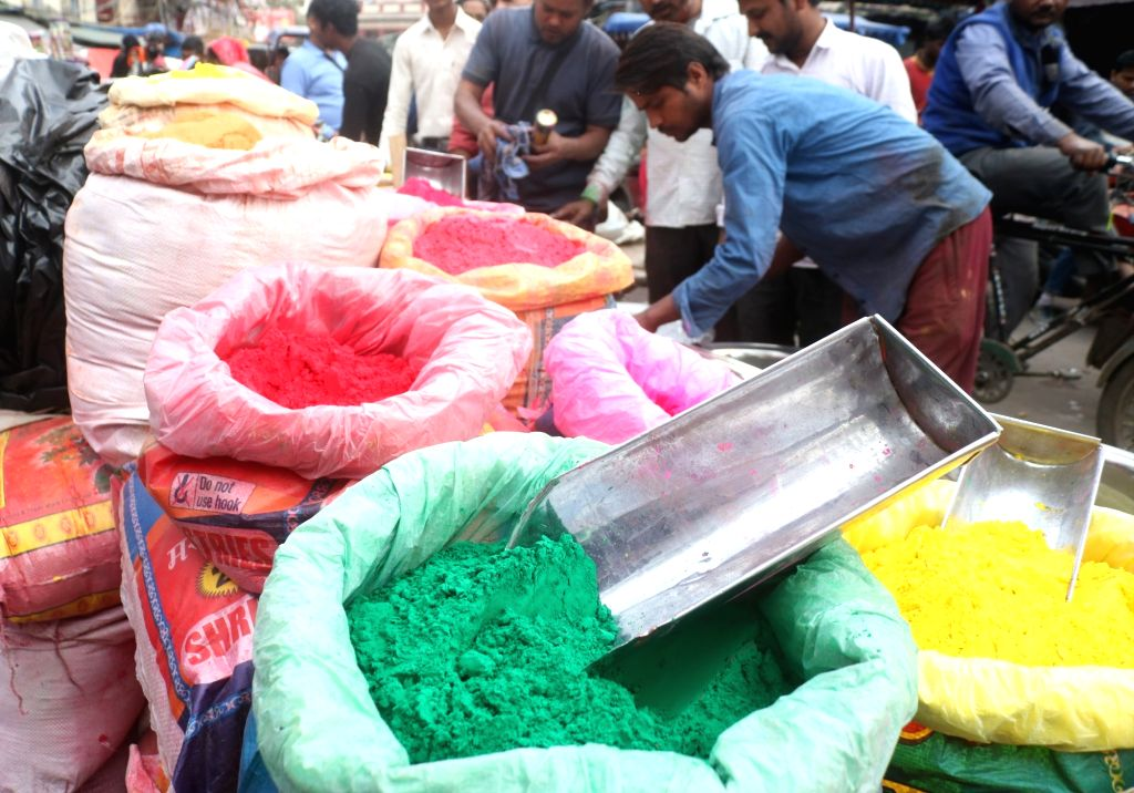 Color powders on sale ahead of Holi, in New Delhi, on March 14, 2019.