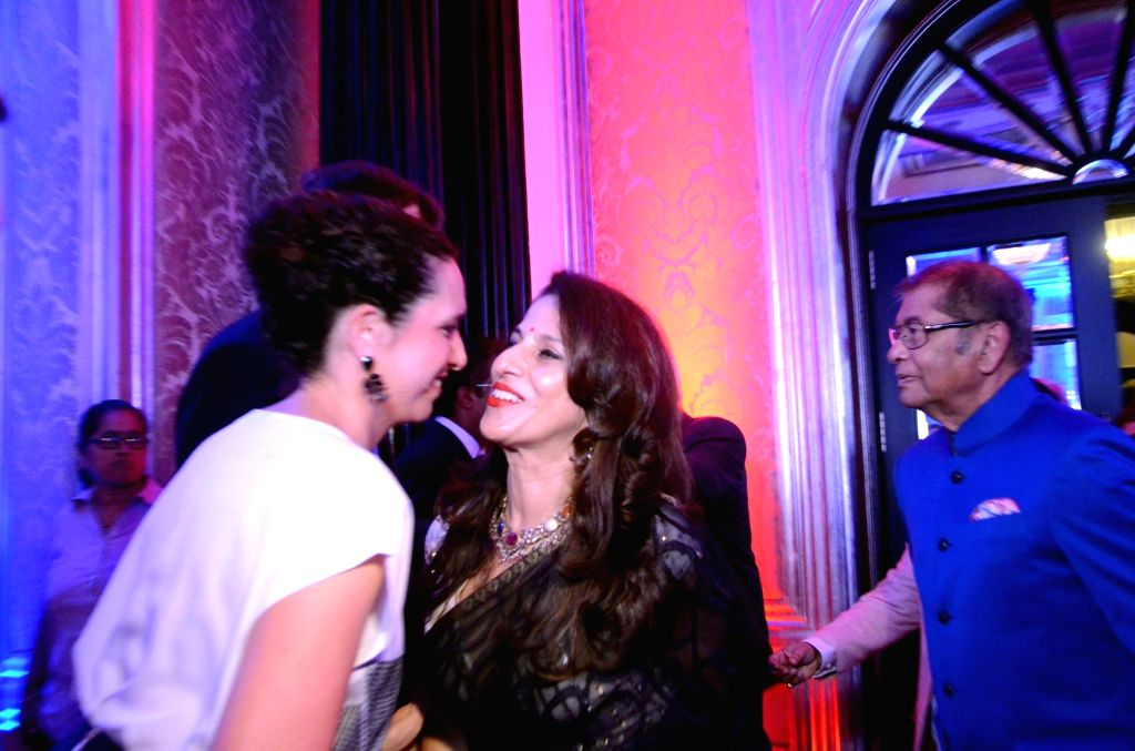 Columnist Shobhaa De during a reception hosted by the British Deputy High Commissioner Shekhar Iyer to celebrate the 90th birthday of Queen Elizabeth II in Mumbai on May 26, 2016.