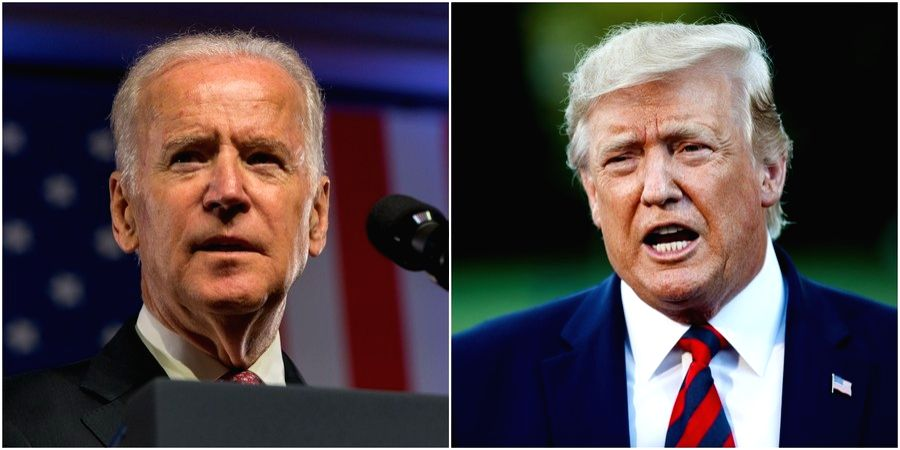 Combo photo shows former Vice President of the United States Joe Biden (L) and sitting President Donald Trump delivering their respective speeches on different occasions.