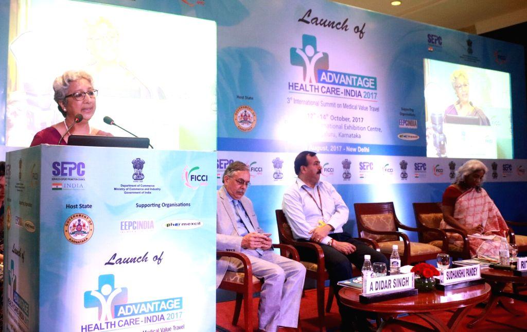"Commerce Secretary Rita Teaotia addresses during the launch of ""Advantage Healthcare India 2017"" in New Delhi on Aug 11, 2017."