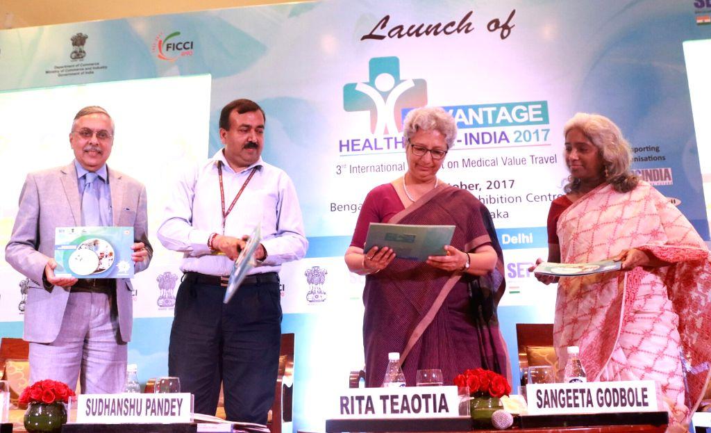 "Commerce Secretary Rita Teaotia during the launch of ""Advantage Healthcare India 2017"" in New Delhi on Aug 11, 2017."
