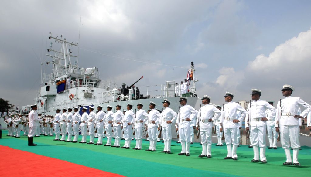 """Commissioning ceremony of Indian Coast Guard Fast Patrol Vessel """"ICGS Anmol"""" at Andaman Jetty of Khidirpur Dock in Kolkata, on Oct 15, 2015."""