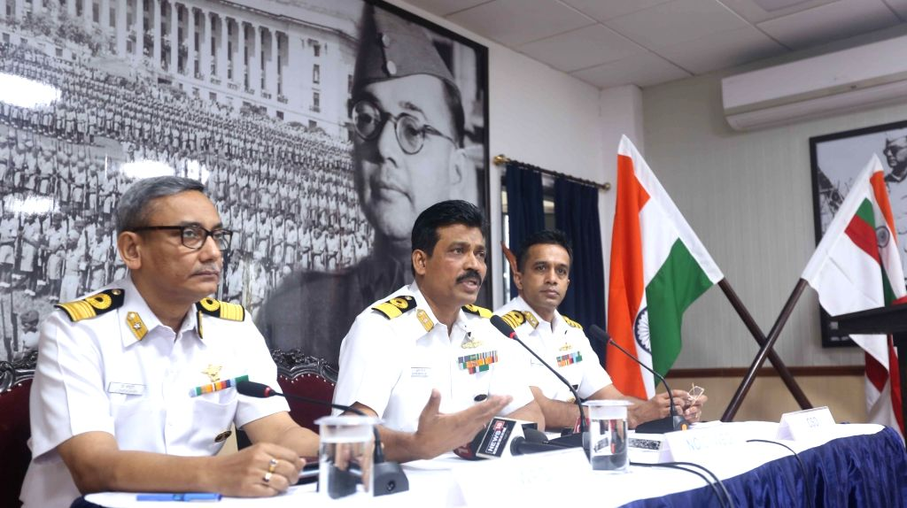 Commodore J Chowdhury, Principal Director (Naval Design); Commodore Suprobho K De, Naval Officer-in-Command, Bengal area and CSO Narayanan Hariharan at a press conference on the eve of Navy ...