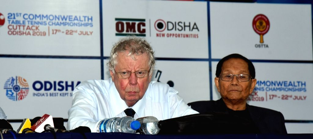 Commonwealth Table Tennis Federation chairman Alam Ransome (L) addresses a press conference regarding 21st Commonwealth Table Tennis Championships, in Cuttack on July 16, 2019.