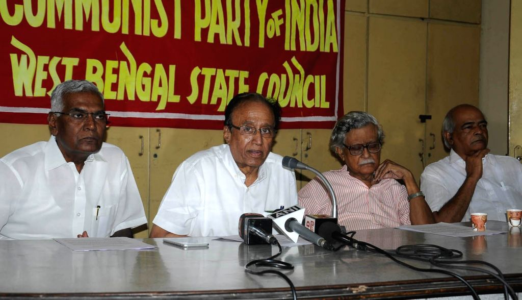 Communist Party of India (CPI) General Secretary S. Sudhakar Reddy addresses during a press conference in Kolkata on Oct 10, 2017.