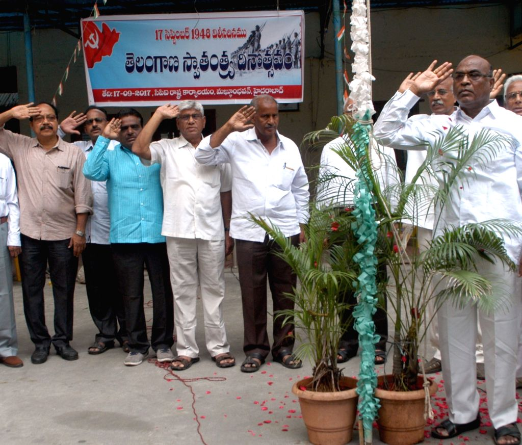 Communist Party of India State committee secretary Ch Venkat Reddy during flag hoisting on the occasion of 'Merger Day' in Hyderabad on Sept 17, 2017. It was on this day in 1948 that the ... - Venkat Reddy