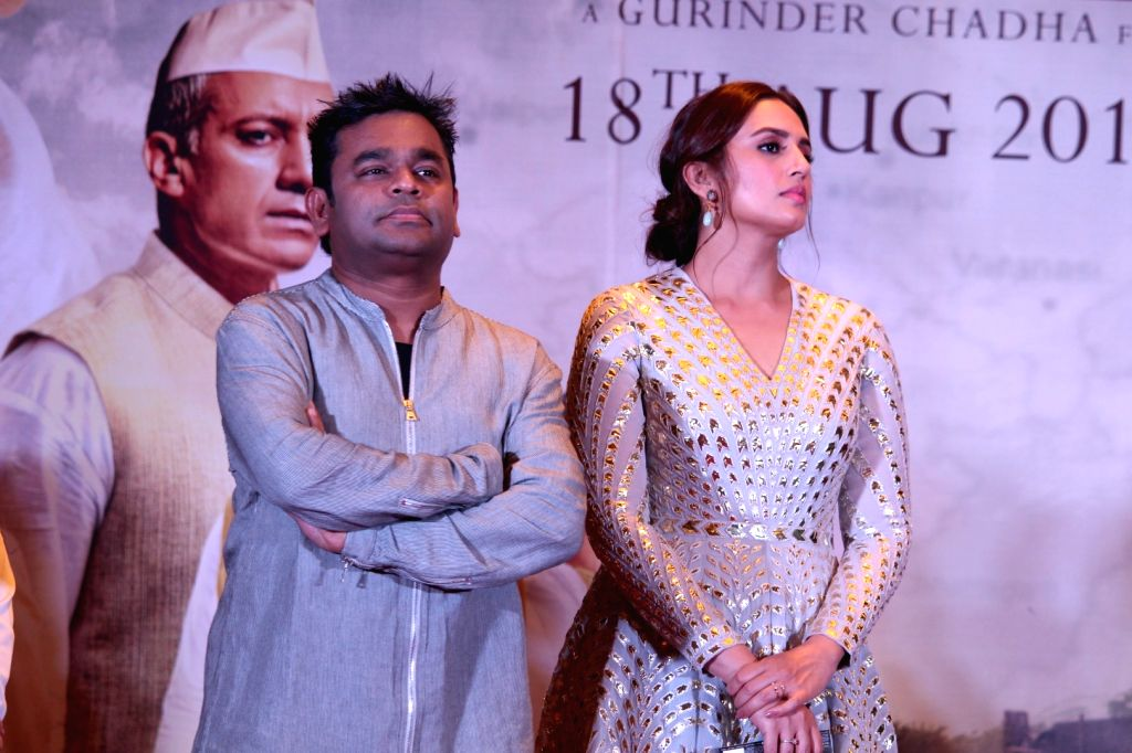 "Composer A. R. Rahman and actress  Huma Qureshi at the music launch of forthcoming film ""Partition: 1947"" in Mumbai on July 4, 2017. - Huma Qureshi"