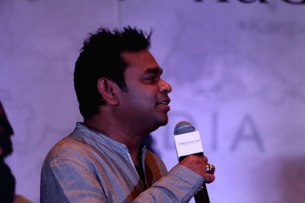 "composer A. R. Rahman at the music launch of forthcoming film ""Partition: 1947"" in Mumbai on July 4, 2017."