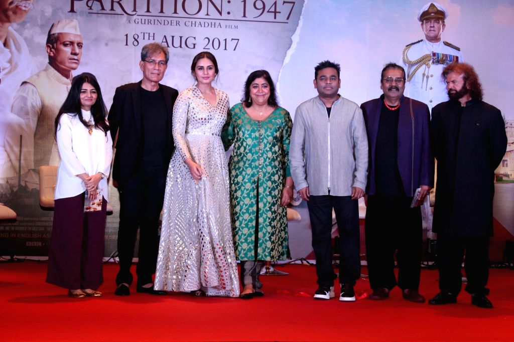 "Composer A. R. Rahman, filmmaker Gurinder Chadha, singers Hariharan, Hans Raj Hans and actor Denzil Smith at the music launch of forthcoming film ""Partition: 1947"" in Mumbai on July ... - Denzil Smith"