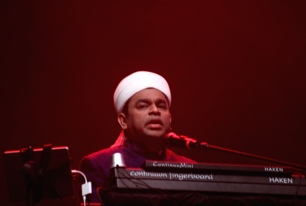"""Composer AR Rahman performs during a musical evening """"The Sufi Route"""" at Kalagram Garden Of Five Senses in New Delhi on Feb 9, 2019."""