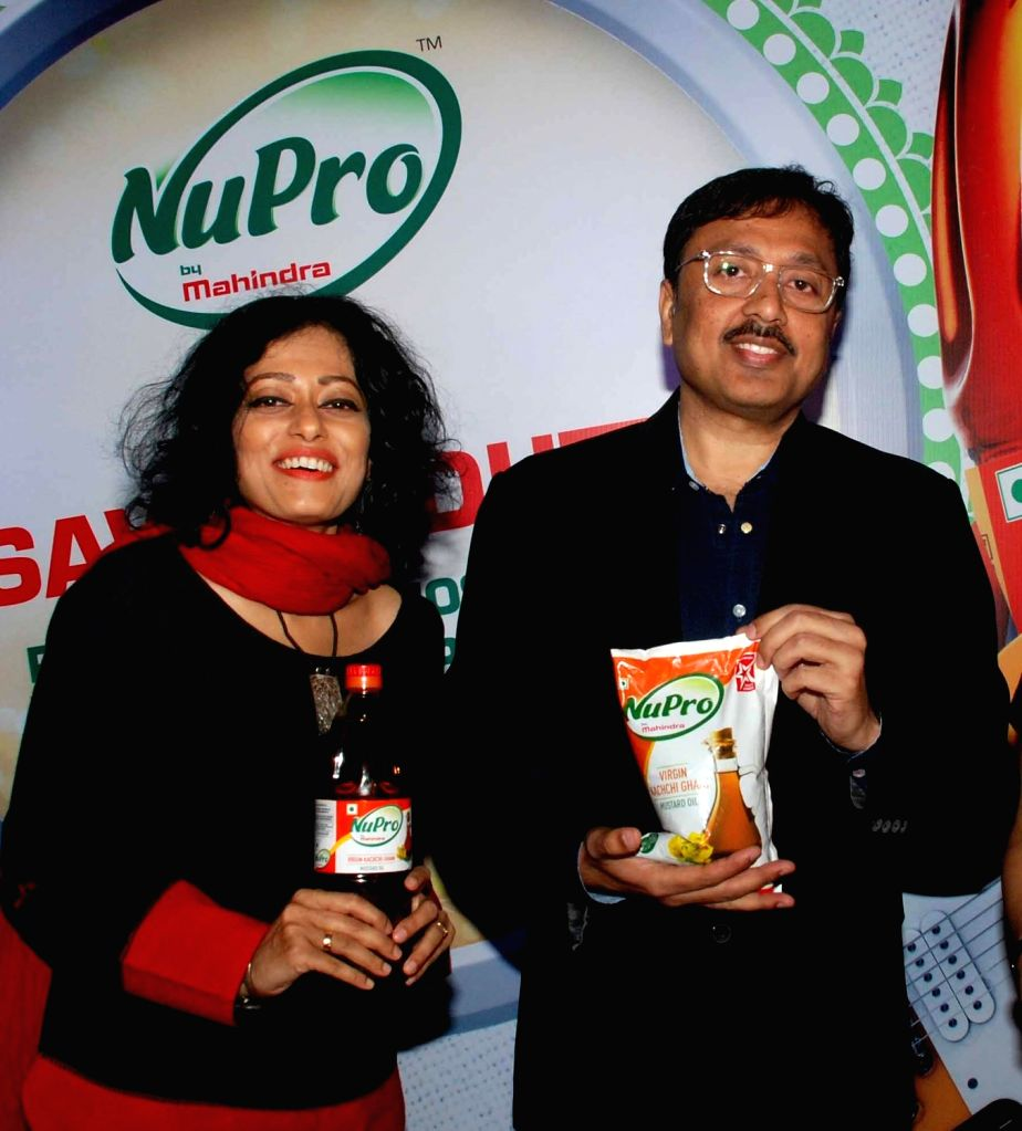 Composer Sawan Dutta with Mahindra Agri Solutions Vice President Partho Chakrabarty during a product launch in Kolkata, on Oct 5, 2016.