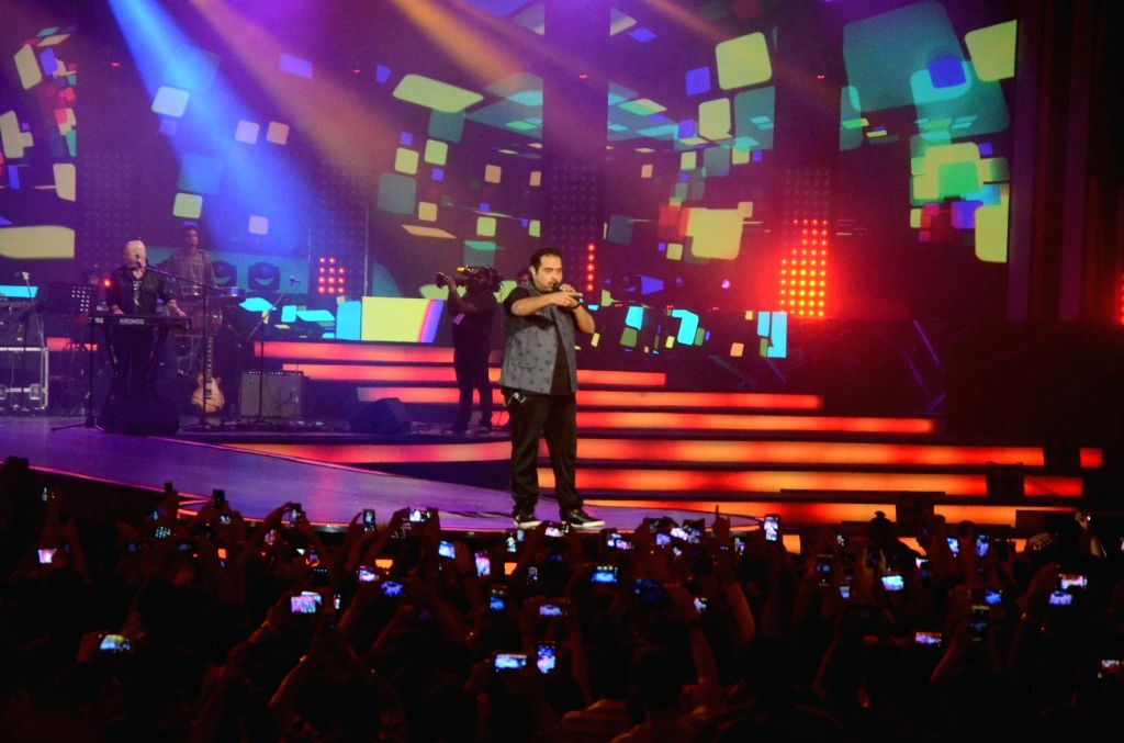 Composers Shankar-Ehsaan-Loy perform during a live concert  in Mumbai, on Sept 18, 2016.