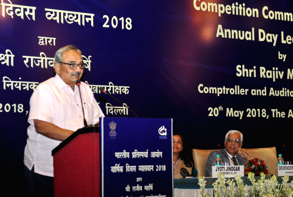 """Comptroller and Auditor General of India Rajiv Mehrishi  delivers the Competition Commission of India's (CCI) Annual Day Lecture on """"Competition Law 2.0:Way Forward"""", in New Delhi on ..."""