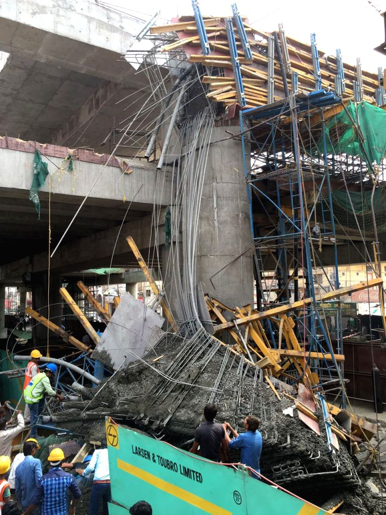 Concrete slab collapsed at Sujanpura near the Alambagh bus station.