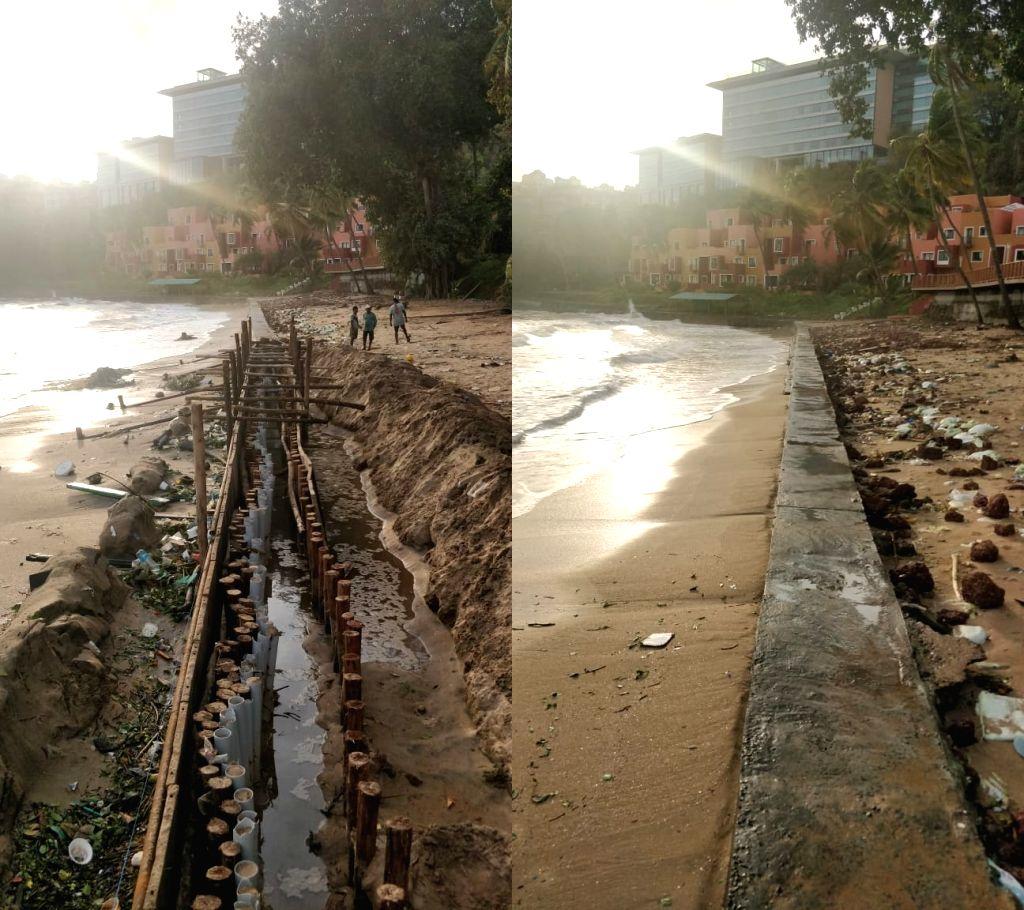 Concrete wall on Goa beach makes ripples amid curfew.