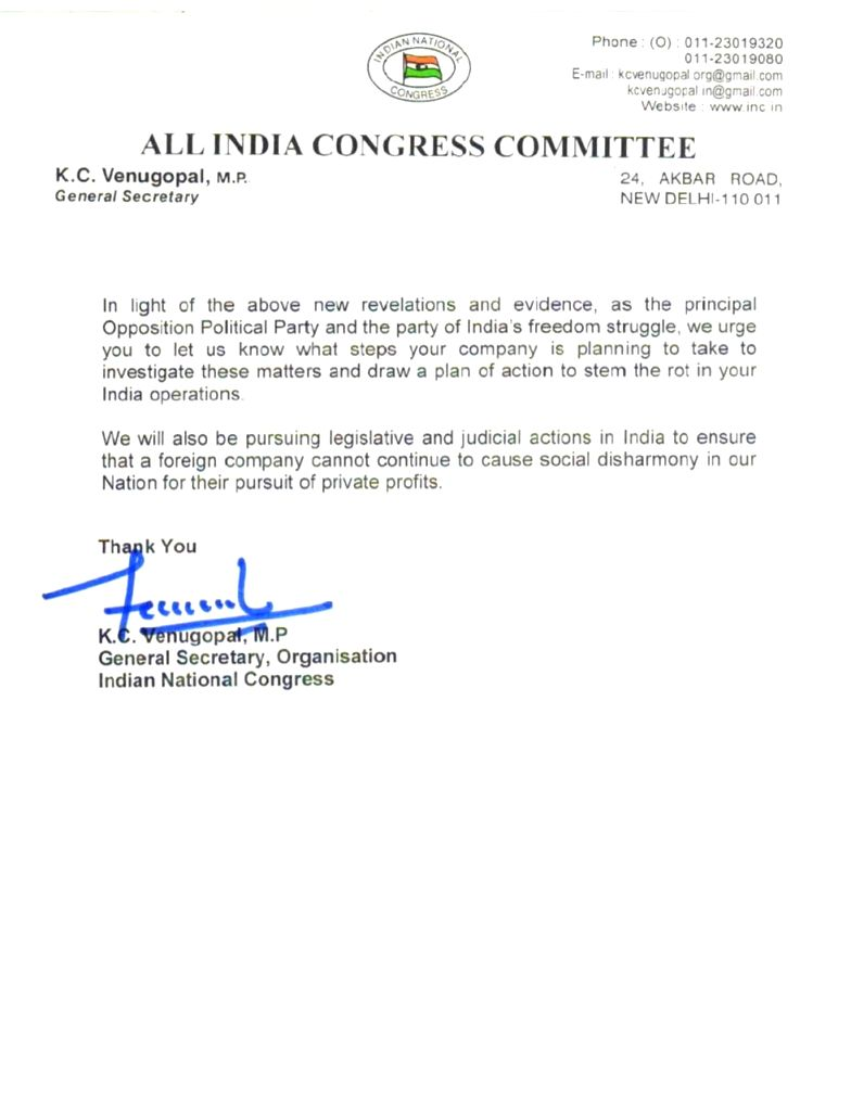 Cong alleges WA indirectly controlled by BJP, demands JPC probe.